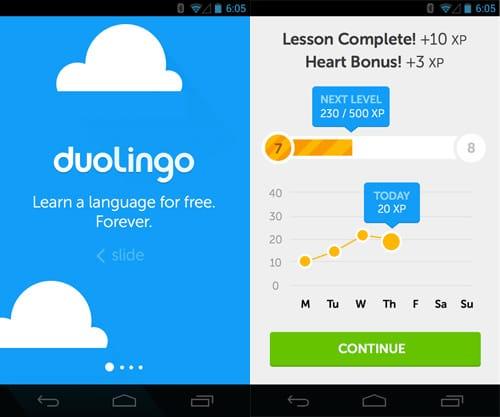 اپلیکیشن آموزش زبان doulingo